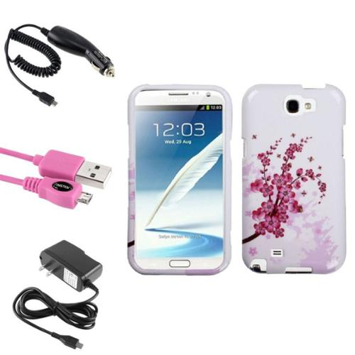 Insten Spring Flowers Hard Case Car Wall Charger 3X USB Cable For Samsung Galaxy Note 2 II