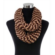 CoverYourHair 45715 Two Tone Ribbed Knit Infinity Scarf, Beige-Brown