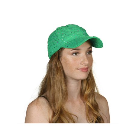 (Womens Sequin Trim Baseball Cap)