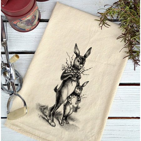 Rabbit Covered Dish - Farmhouse Natural Flour Sack Easter Rabbits Country Kitchen Towel
