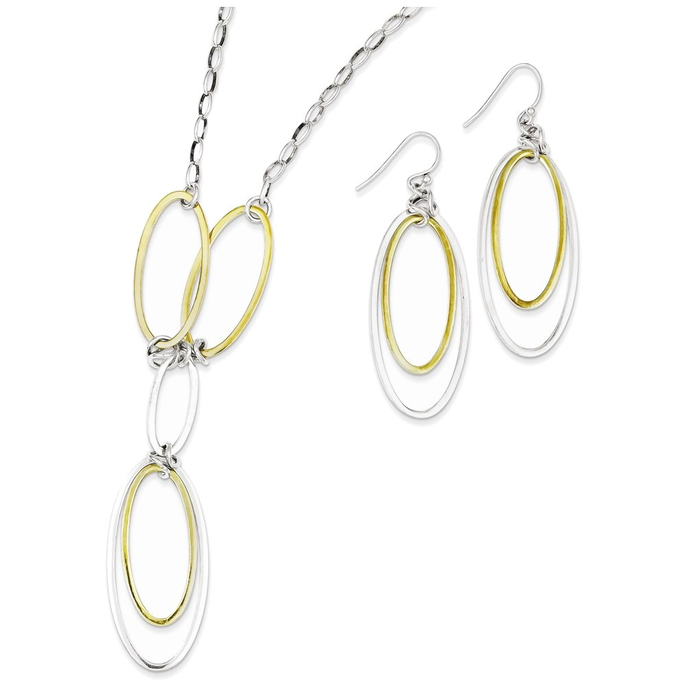 Sterling Silver & Vermeil Polished Drop Necklace & Earring Set by