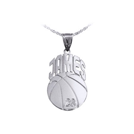 - Basketball Sport Charm Personalized with Name and Number - Sterling Silver - Made in USA