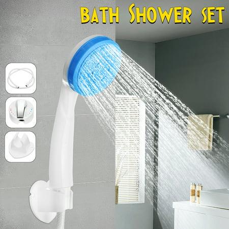 Complete ABS Plastic Shower Head + White Shell Mixer Valve + Hose + Faucets Holder Bath Bathroom Shower Set