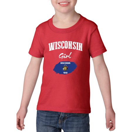 Wisconsin Girl Heavy Cotton Toddler Kids T-Shirt Tee Clothing