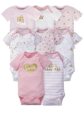 Gerber Baby Girls Assorted Short Sleeve Onesies Bodysuits, 8-Pack