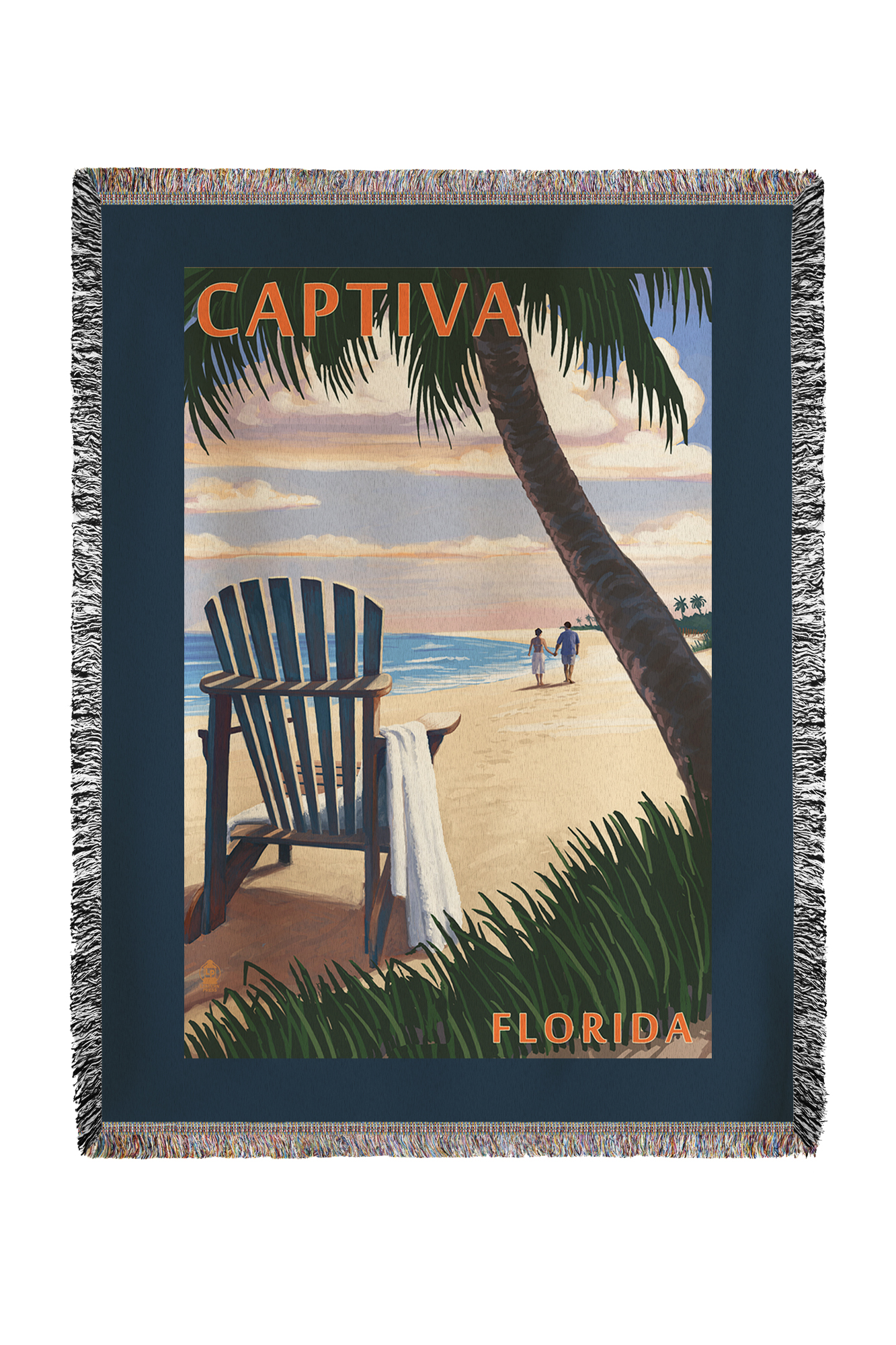 Captiva, Florida Adirondack Chair on the Beach Lantern Press Poster (60x80 Woven Chenille Yarn Blanket) by Lantern Press
