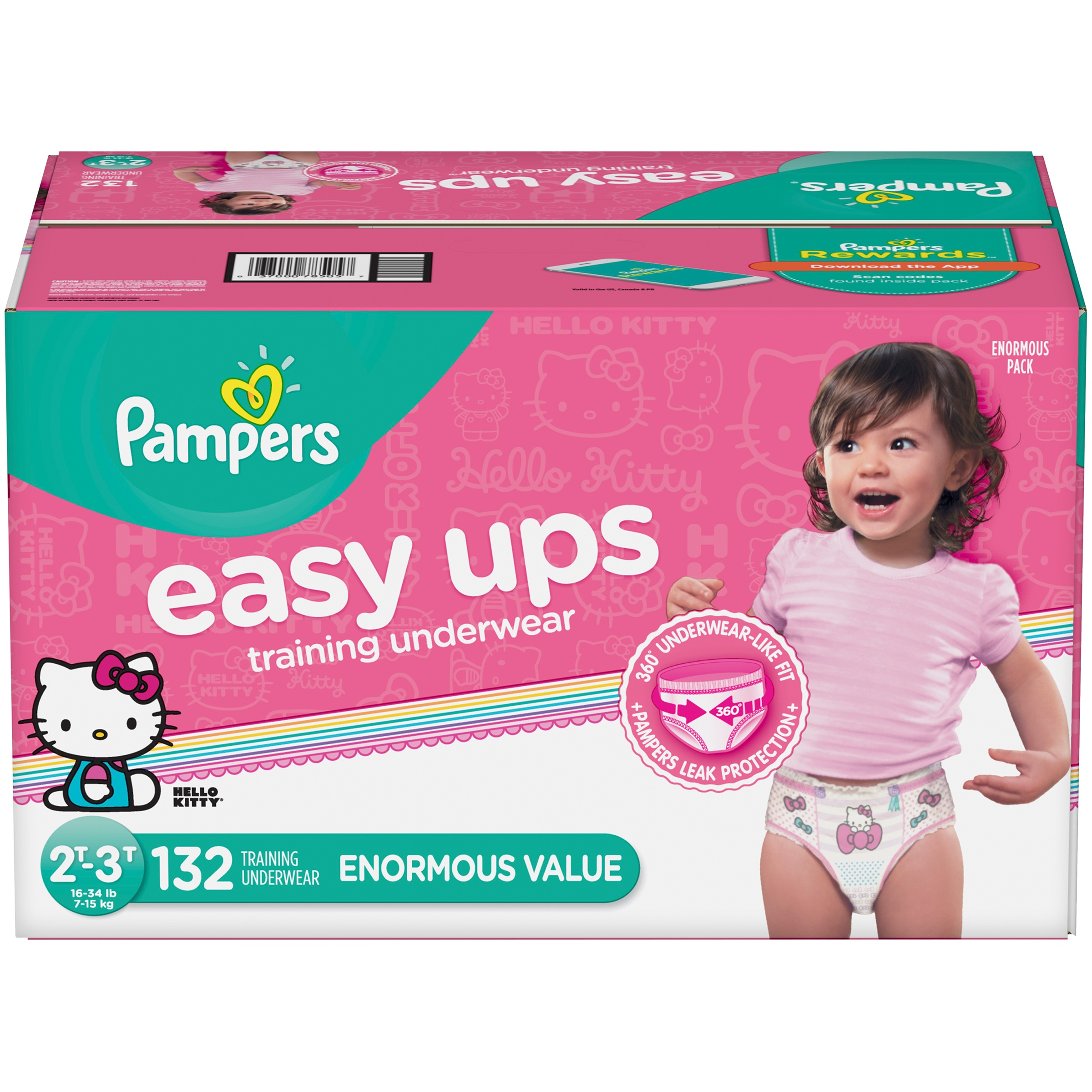 Pampers Easy Ups Training Underwear Girls, Size 2T-3T, 132 Pants