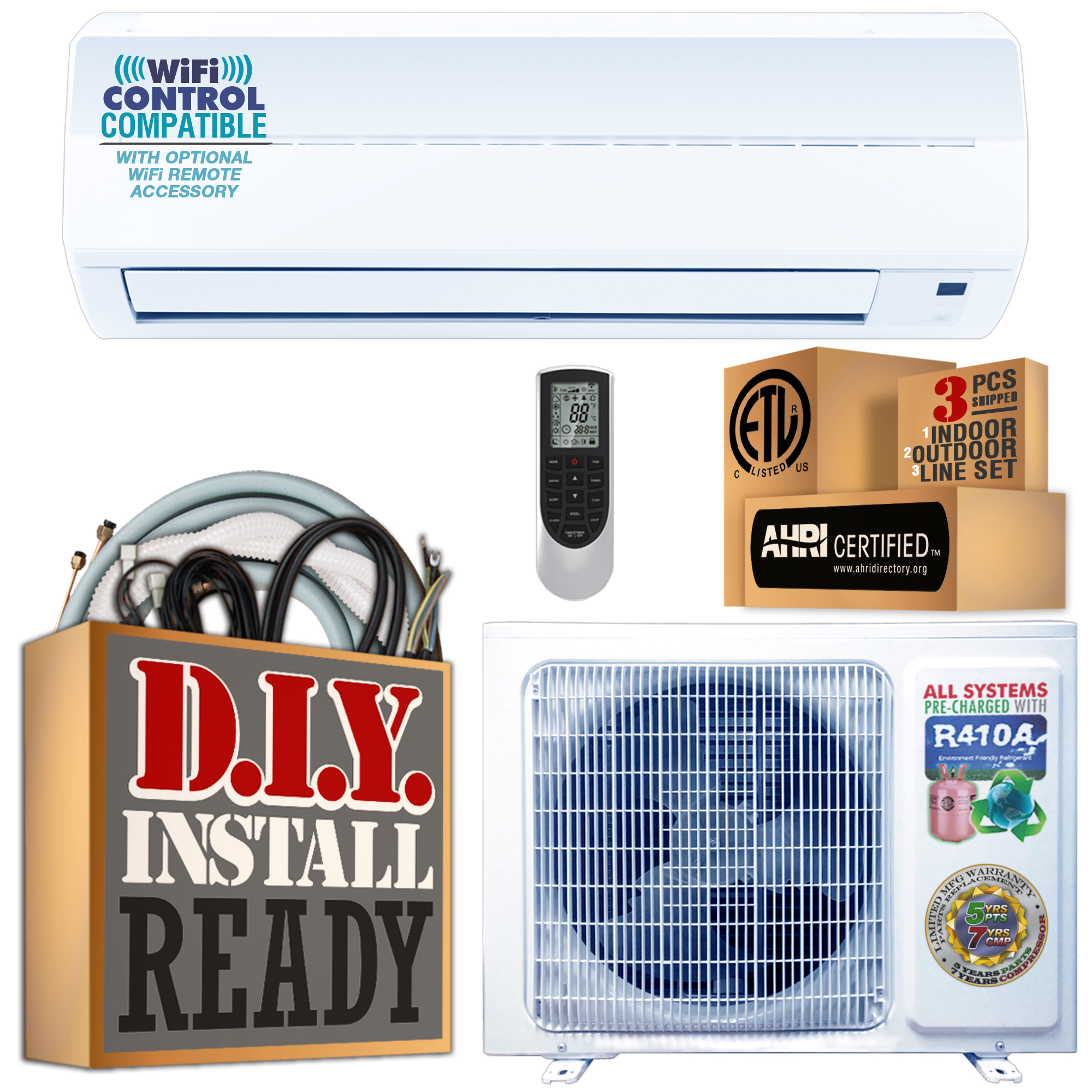 Amvent AXi Series 9000 BTU Ductless Mini Split Air Conditioner with Heat Pump incl Installation 25 Foot Kit