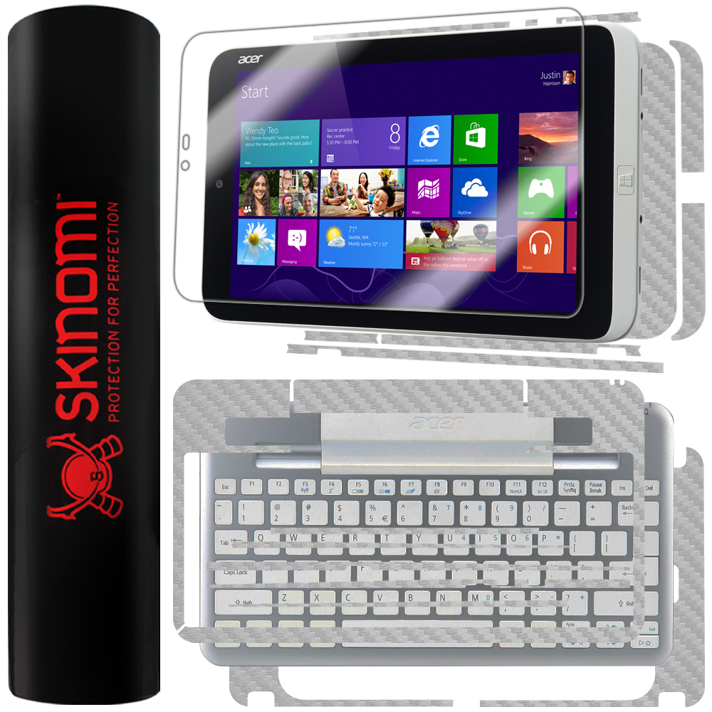 Skinomi Carbon Fiber Silver Skin+LCD Guard for Acer Iconia W3 Tablet+Keyboard