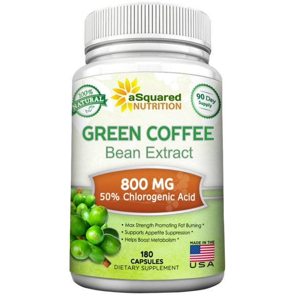 Asquared Nutrition Green Coffee Bean Extract 180 Capsules 100 Pure Max Strength Natural Gca Antioxidant Cleanse