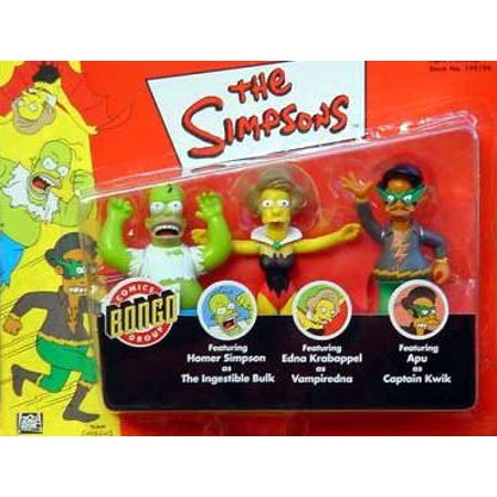 3 Pack w/ Homer As the Ingestible Bulk, Vampiredna,& Apu As Captain Quick