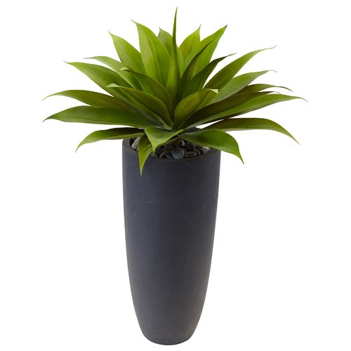 Orren Ellis Artificial Plant Agave Floor Foliage Plastic In Planter