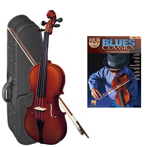 Strunal 220 Student Violin Blues Classics Play Along Pack - 1/2 Size European Violin w/Case & Play Along Book