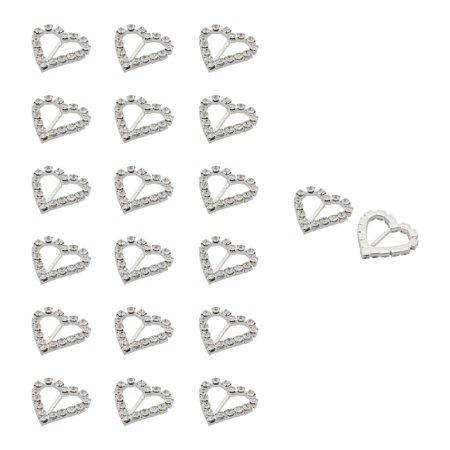 Wedding Card Ribbon Metal Heart Shaped DIY Decor Rhinestone Buckle Slider 20pcs