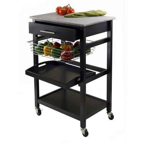 Walmart Kitchen Cart: Wood Julia Kitchen Cart With Granite Top, Black
