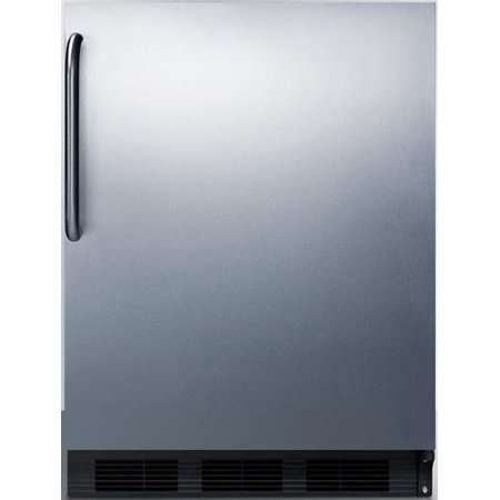 FF63BSSTBADA 24 ADA Compliant Freestanding Compact Refrigerator 5.5 cu. ft. Capacity Adjustable Spill Proof Glass Shelves Crisper Wine Shelf & Interior Lighting: Stainless Steel Pro Towel Bar Handle (Bar Fridge 24)