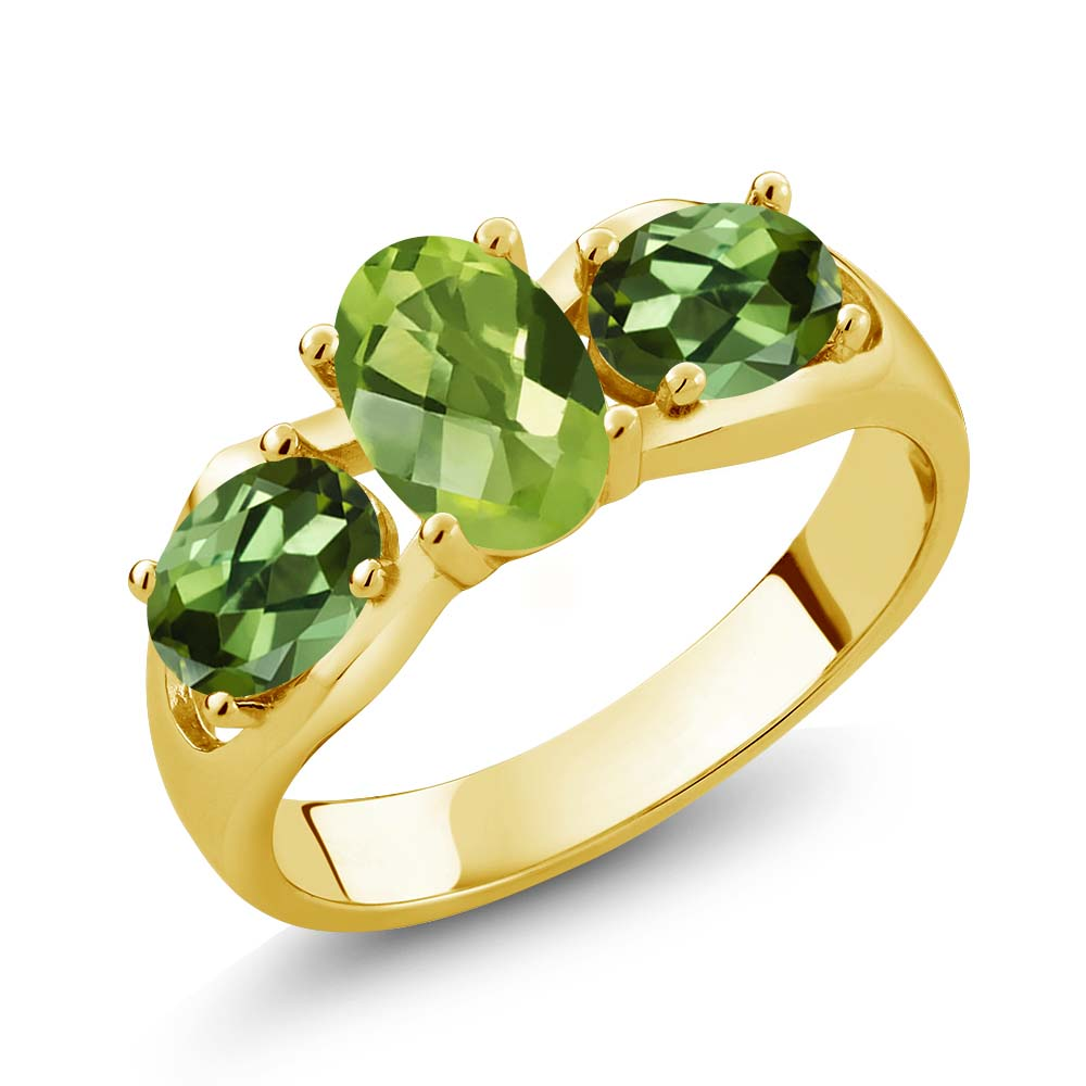1.85 Ct Oval Checkerboard Green Peridot Green Tourmaline 18K Yellow Gold Ring by
