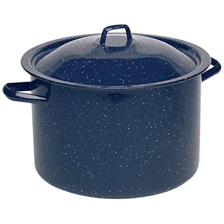 IMUSA USA 12-Quart Blue Speckled Enamel Stock Pot with Lid