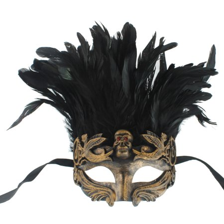 FEATHERED GREEK MASK - Warrior Costume - SKULL VENETIAN](Plastic Skull Mask)