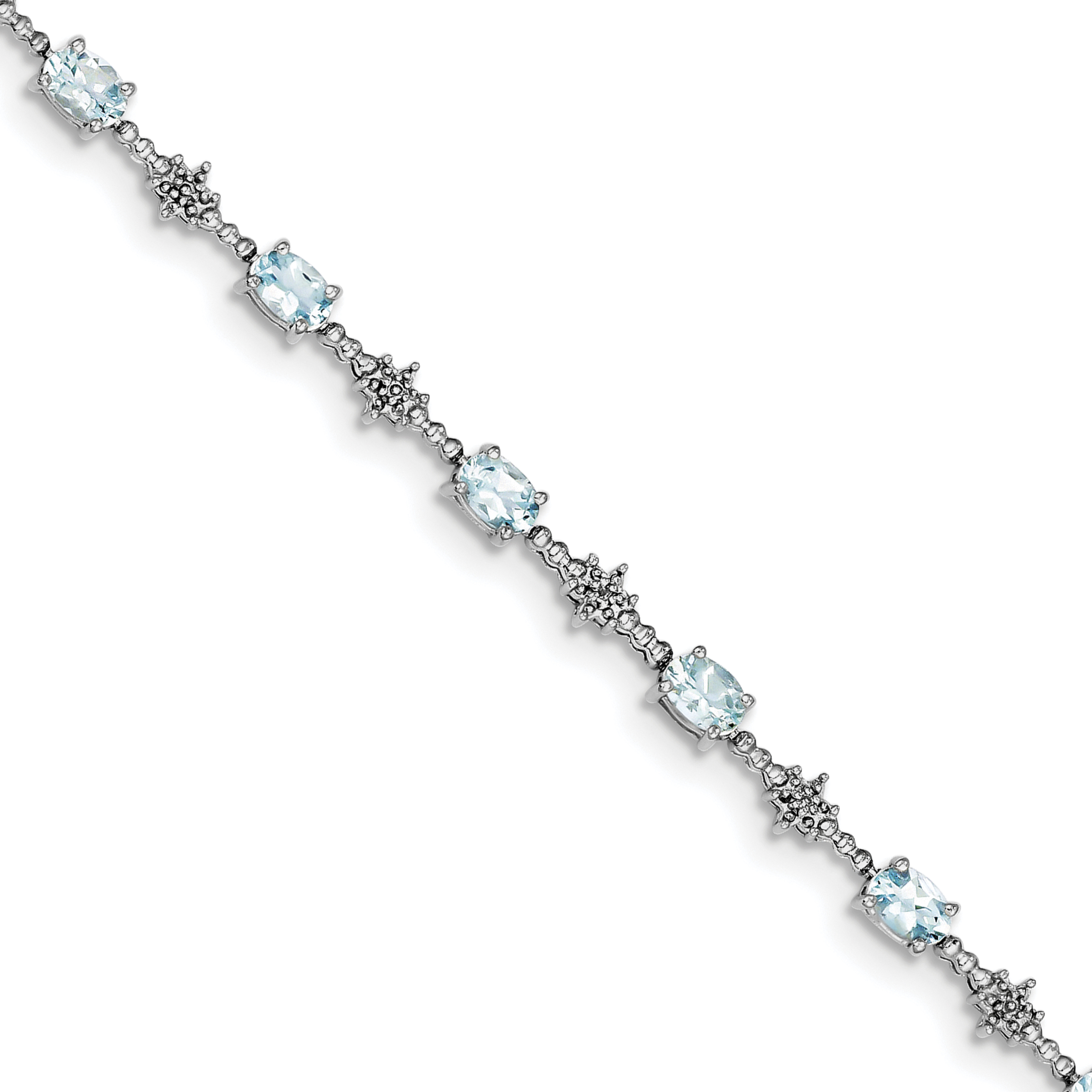 Sterling Silver Rhodium-plated Aquamarine and Diamond Bracelet QX859AQ by Core Silver