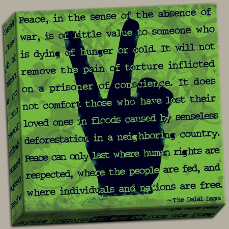 Peace Sign I Popular, Inspirational Dalai Lama Quote; One 12x12 Hand-Stretched Canvas … ()