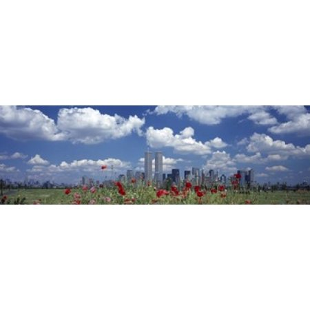 Flowers in a park with buildings in the background Manhattan New York City New York State USA Canvas Art - Panoramic Images (18 x - Party City In Manhattan New York