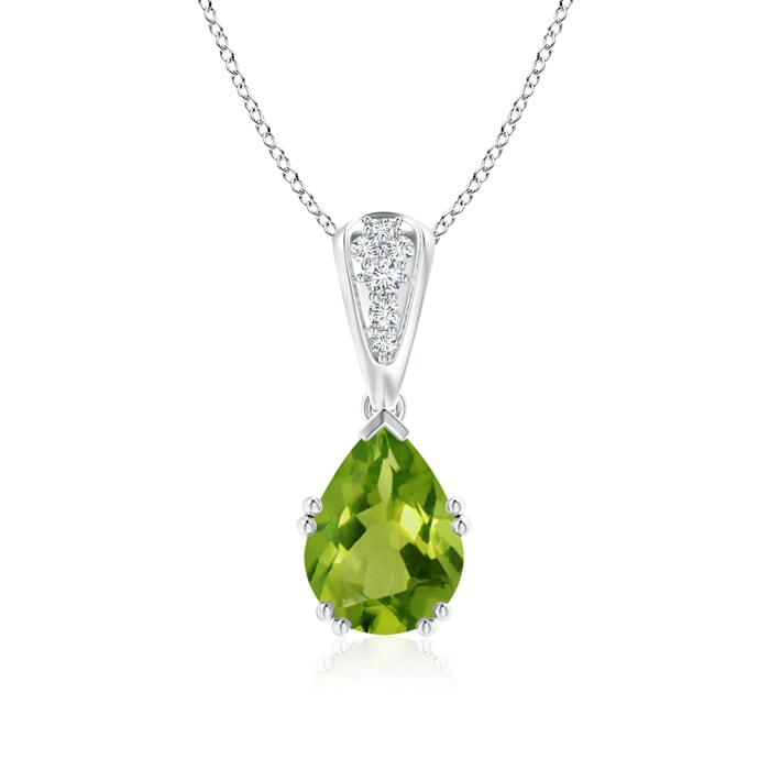 Angara Pear Shaped Peridot Pendant in 14k White Gold CwwfeI7w2T