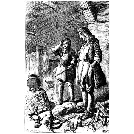 Abraham Darby (1678-1717) Nenglish Ironmaster Darby At His Forge And The Discovery Of Cast Iron Etching English 19Th Century Rolled Canvas Art -  (24 x 36)