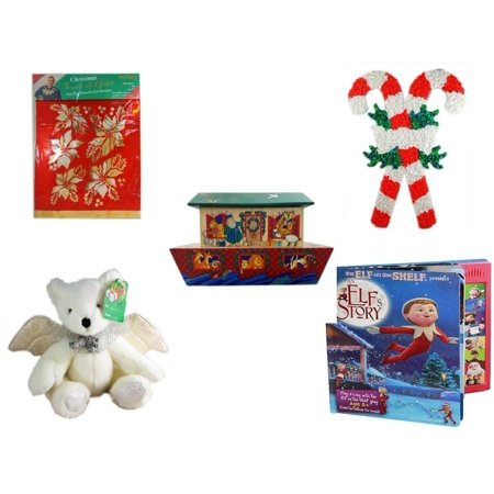 - Christmas Fun Gift Bundle [5 Piece] -  Touch of Gold 1-Step Iron-On Foil Poinsettias - Vintage 1960's Kage Co. Melted Popcorn Candy Cane - Noah's Ark Card Storage Display Box Hallmark - Angel Bear