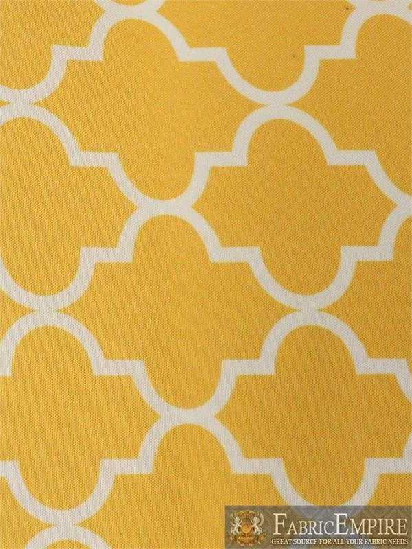 "Outdoor Upholstery Moroccan White on Yellow Waterproof Canvas fabric 60/"" Wide"