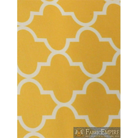 Indoor/Outdoor Waterproof Moroccan Mosaic Canvas Fabric YELLOW UV Resistant 60