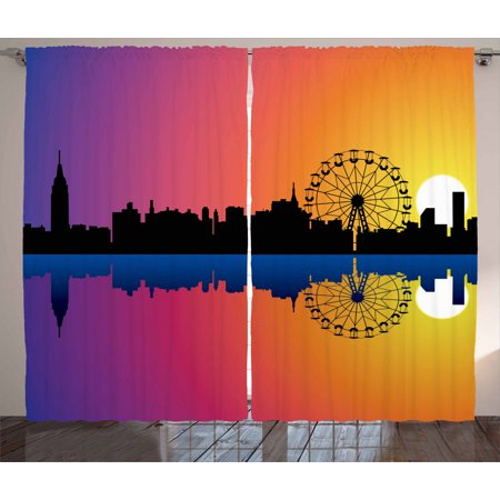 Ferris Wheel Curtains 2 Panels Set, Silhouette Skyline at Sunset with Reflection on the River Graphic Ombre Print, Window Drapes for Living Room Bedroom, 108W X 90L Inches, Multicolor, by Ambesonne Set Ferris Wheel