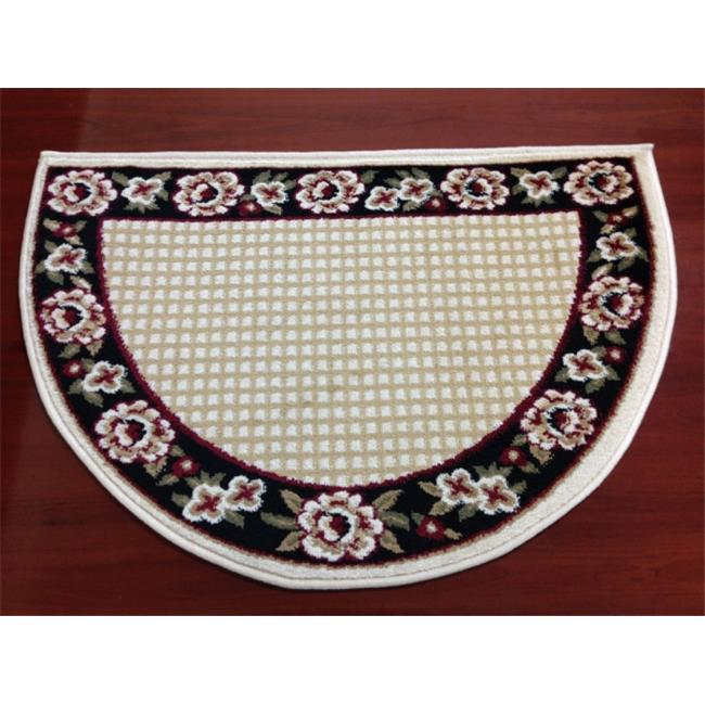 IMS 28525618672434 Small Hearth Rug Floral Border Lodge Cabin Fireplace Mat, Black 22 x 34... by IMS