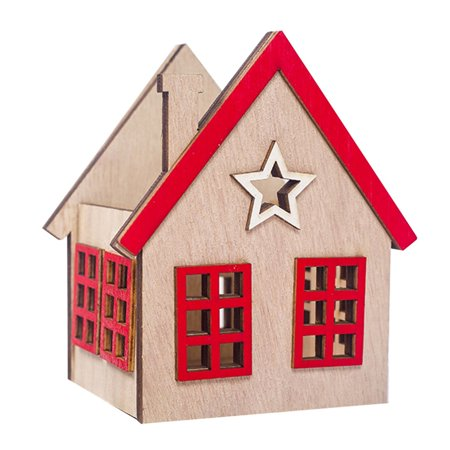 Festival Wood Ornaments House Candle Holder Festival Restaurant Decorations - image 1 de 6