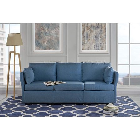 Strange Upholstered 84 2 Inch Linen Sofa With Pillows Dark Blue Gmtry Best Dining Table And Chair Ideas Images Gmtryco