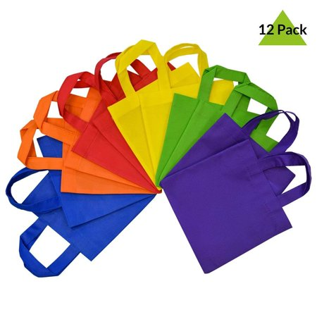 12 Pack Reusable Gift Bags with Handles, Eco Friendly Tote Bags, Party Favor Bags Assorted Bright Neon Colors, Multi Colors (6