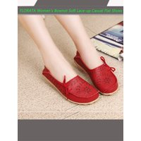 FLORATA Women's Bownot Soft Lace-up Casual Flat Shoes Peas Outdoor Shoes