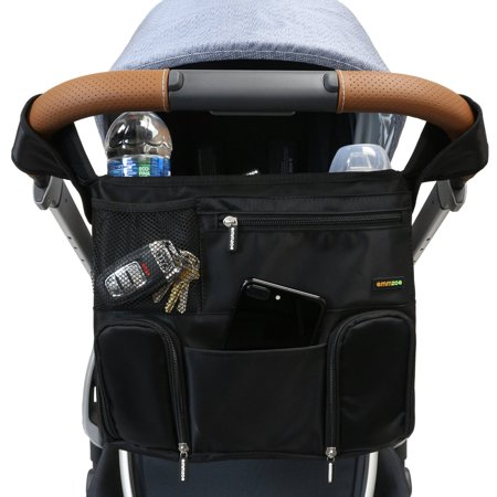 Emmzoe Universal Fit Stroller Organizer All-in-One Insulated Multifunctional Storage Compartments for Drinks, Food, Tablets, Books, Diapers, Wipes