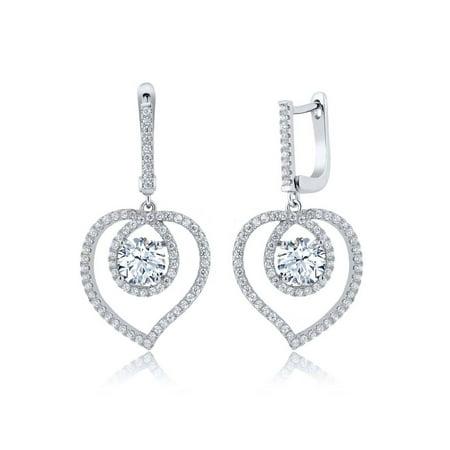 4.08 Ct White Zirconia 925 Sterling Silver Heart Shape Dangling Earrings
