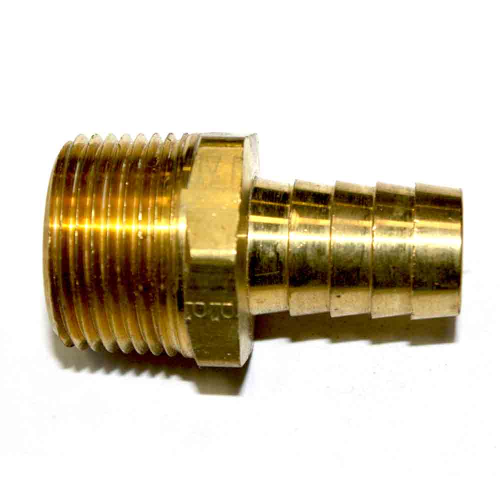 "Interstate Pneumatics FM98-5 Brass Hose Barb Fitting, Connector, 5/8"" Barb X 3/4"" NPT Male End"