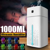 2 in1 1000ml Ultrasonic Mist Air Humidifier & Facial Humidifier Aroma Essential Oil Diffuser Purifier Atomizer 7 Color LED Lights W/ USB Cable & Adapter