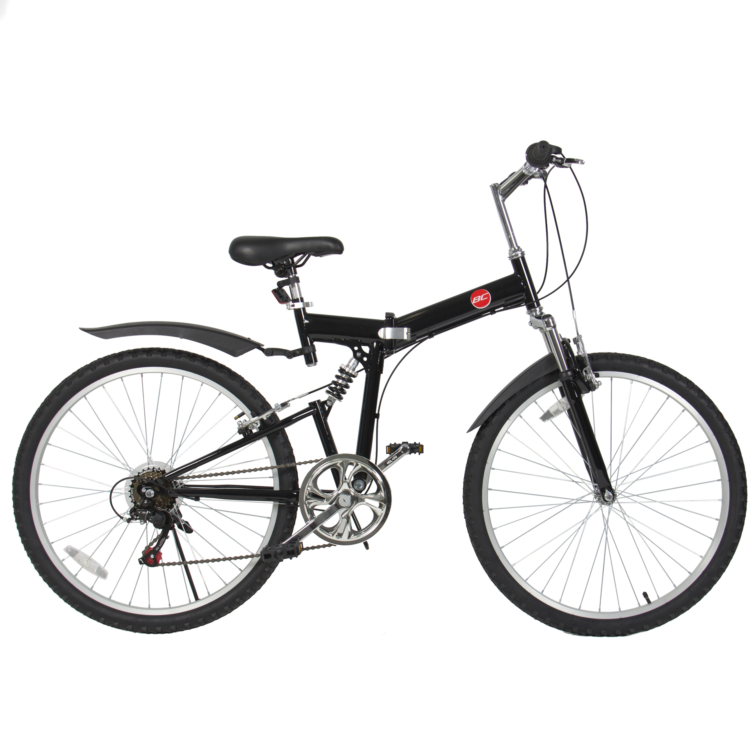 26 Folding Mountain Bicycle 6 Speed Shimano Foldable Bike Black