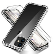 iPhone 11 Clear Case, Dteck Full Body Protection [Built in Screen Protector] Dual Layer Shockproof Hard Plastic & Soft TPU with Anti-Scratch Case For Apple iPhone 11 2019 (6.1 inch), Clear
