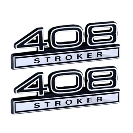 408 6.7 Liter Stroker Engine Emblems in Chrome & Black Trim - 4
