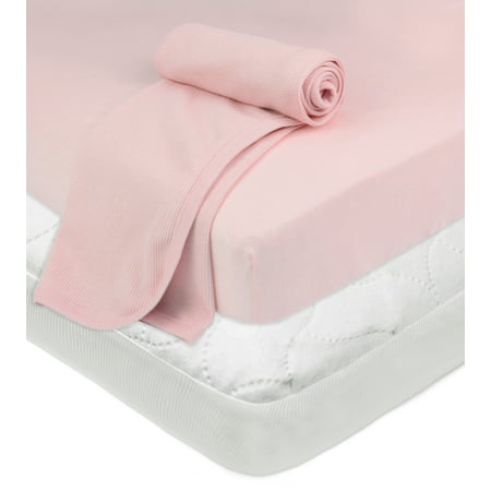 Fitted Bed Warmer (TL Care Playard Bundle: Mattress Pad, Fitted Sheet, Thermal Blanket, Pink )