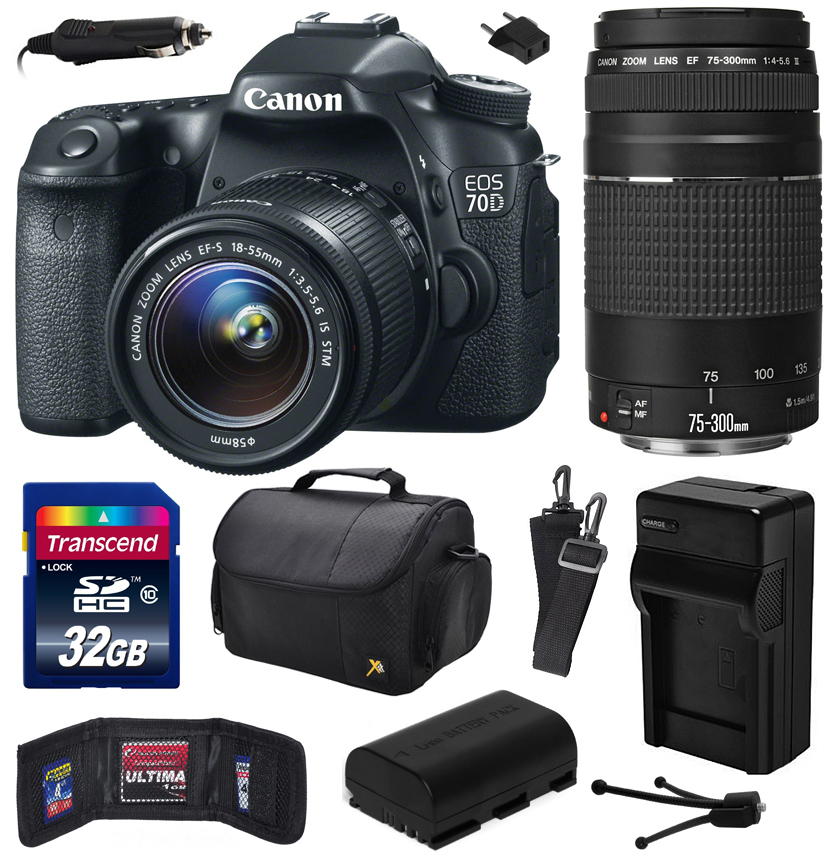 Canon EOS 70D Digital SLR Camera with 18-55mm STM and EF 75-300mm f/4-5.6 III Lens includes 32GB Memory + Large Case + Extra Battery + Travel Charger + Memory Card Wallet + Cleaning Kit 8469B009