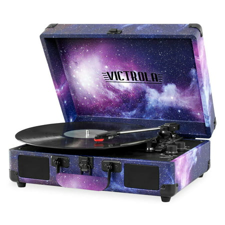 Victrola Vintage 3-Speed Bluetooth Suitcase Turntable with Speakers, Limited Galaxy