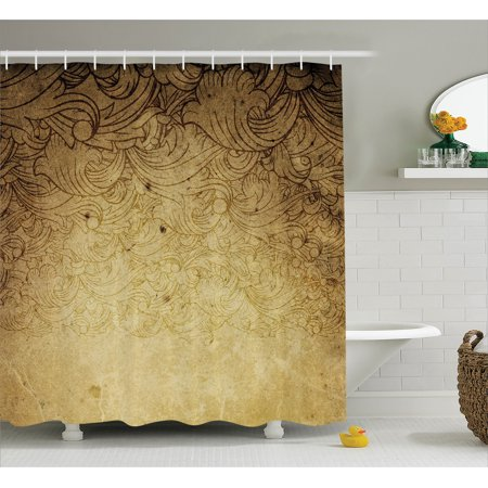 Vintage Shower Curtain, Aged Vintage Distressed Background with Swirling Flower Figures Faded Fashioned Effects, Fabric Bathroom Set with Hooks, Tan, by Ambesonne