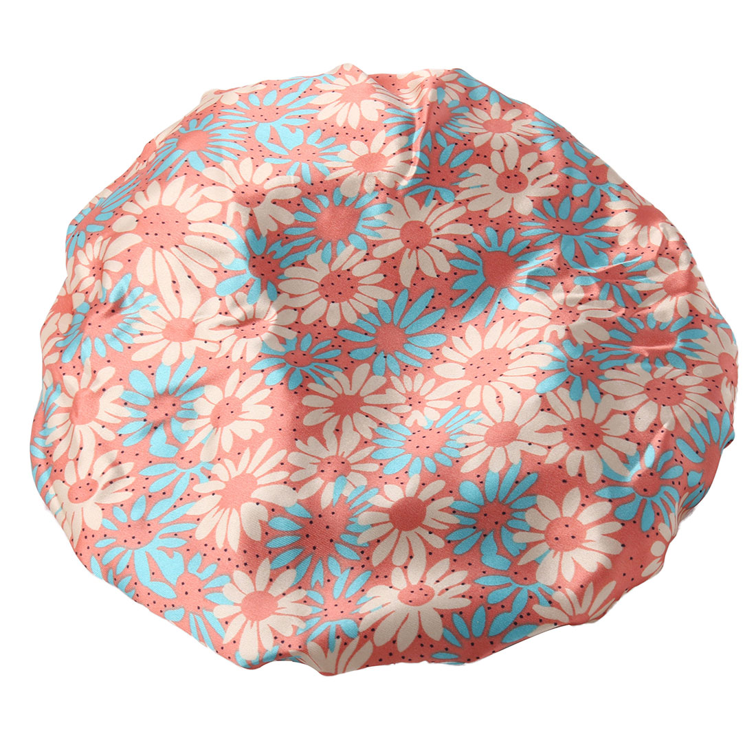 Bathroom Polyester Flower Pattern Hair Protector Water Resistant Spa Shower Cap
