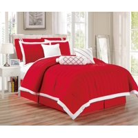 Legacy Decor 9 pc Pleated Microfiber Comforter Set, Red and White Color, California King Size
